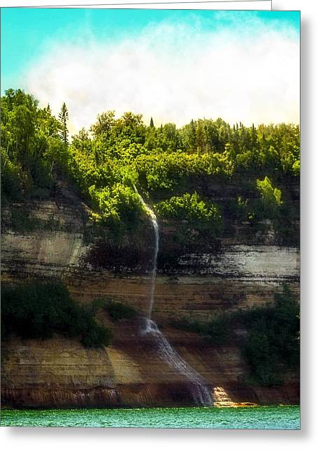 Picture Rocks Waterfall Greeting Card by Kendall Tabor