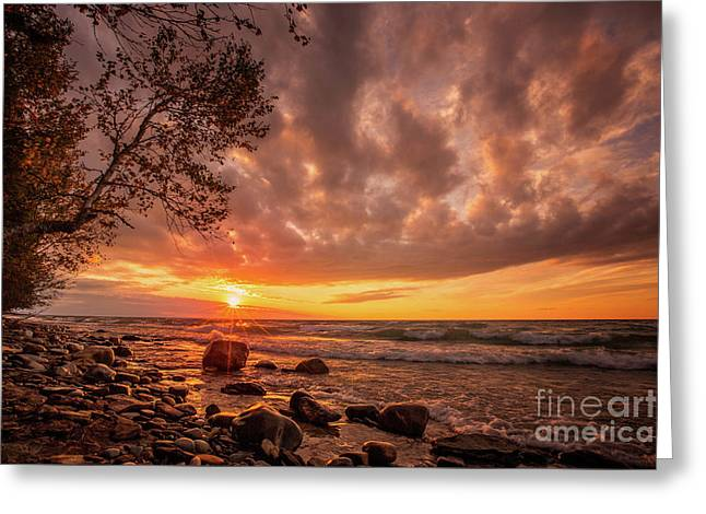 Pictured Rock Sunset Greeting Card