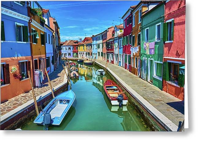 Picturesque Buildings And Boats In Burano Greeting Card