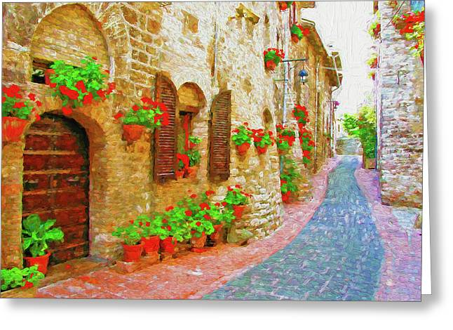 Picturesque Lane With Flowers In An Italian Hill Town Greeting Card by Andrew Sokol