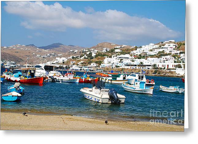 Picturesque Mykonos Island Greece Bay Greeting Card by Just Eclectic