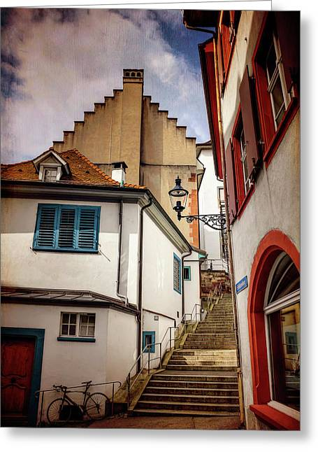 Picturesque Old Town Of Basel Switzerland  Greeting Card