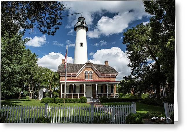 Picturesque St. Simons Lighthouse Greeting Card by Walt Baker