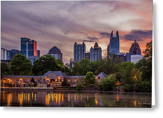 Greeting Card featuring the photograph Piedmont Park Midtown Atlanta Sunset Art by Reid Callaway