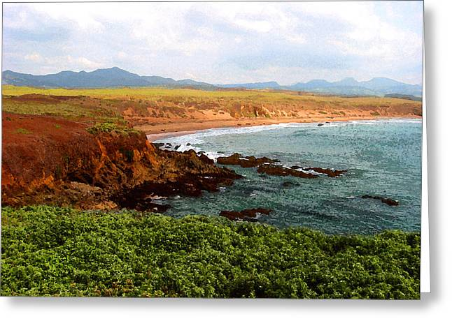 Greeting Card featuring the digital art Piedras Blancas I by Timothy Bulone