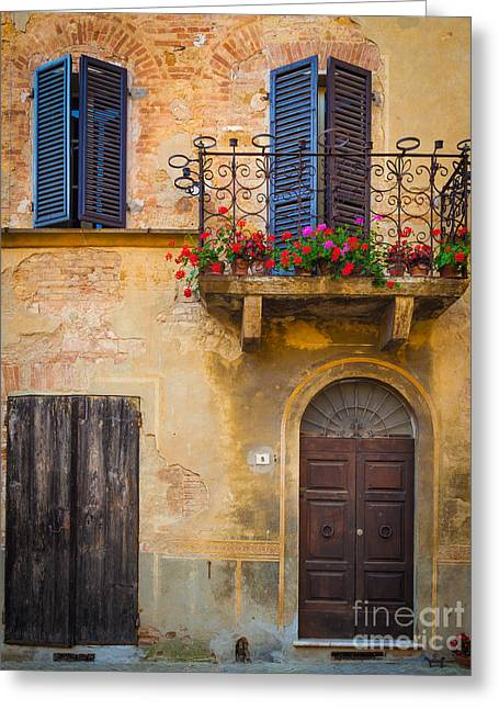 Pienza Balcony Greeting Card by Inge Johnsson