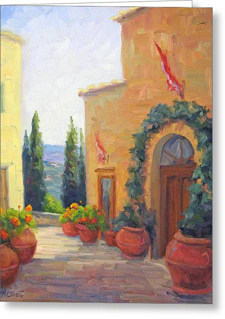 Pienza Passage Greeting Card by Bunny Oliver
