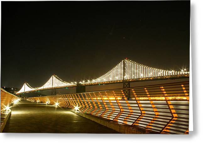 Pier 14 And Bay Bridge Lights Greeting Card
