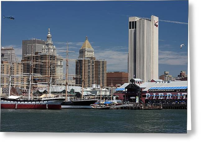 Greeting Card featuring the photograph Pier 17 Nyc by Ken Barrett