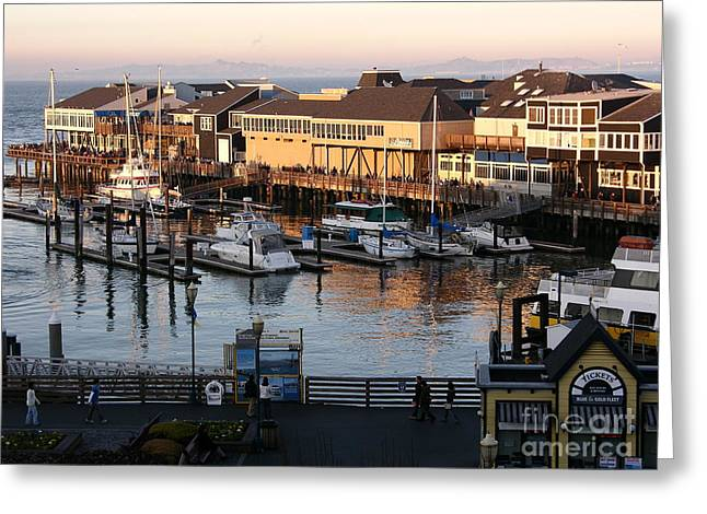 Pier 39 In The Sunshine Greeting Card by Carol Groenen