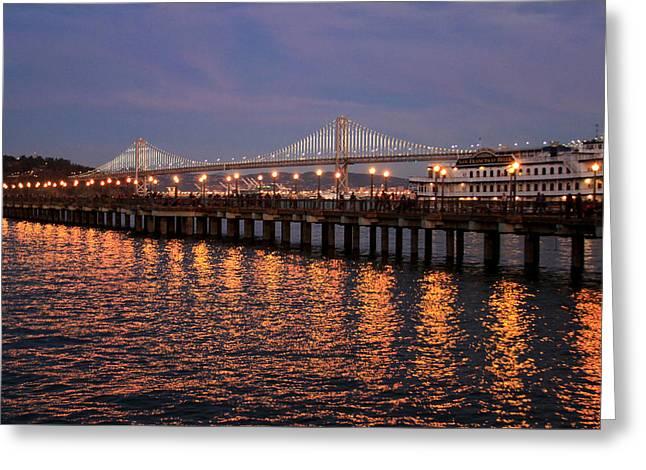 Pier 7 And Bay Bridge Lights At Sunset Greeting Card