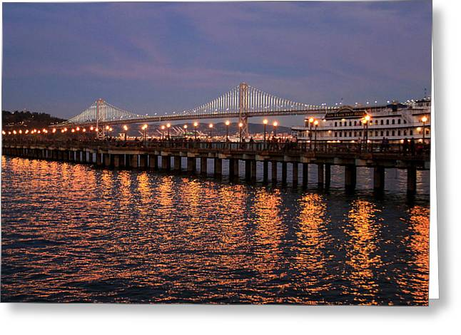 Pier 7 And Bay Bridge Lights At Sunset Greeting Card