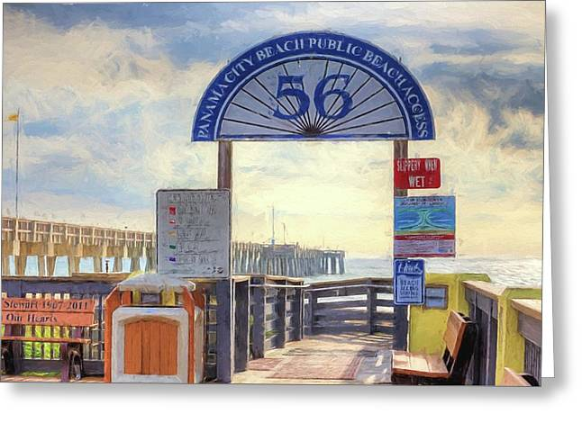 Pier Access 56 Panama City Beach Greeting Card by JC Findley