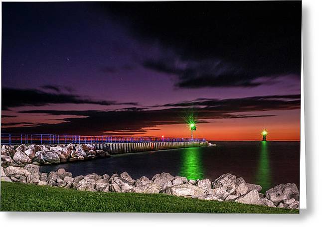Pier And Lighthouse Greeting Card