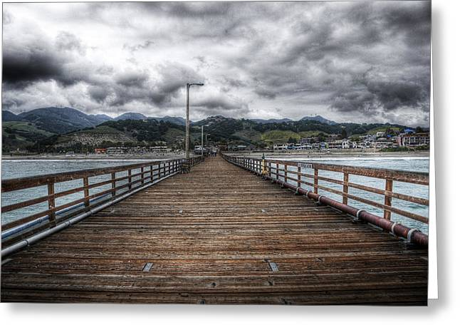Dark Clouds. Greeting Cards - Pier at Avila Beach California Greeting Card by Kevin Dyer