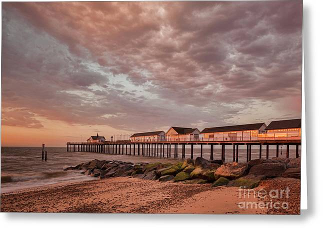 Pier At Sunrise Greeting Card