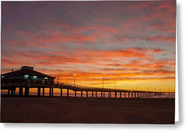Pier At Sunrise Port Aransas Tx Greeting Card