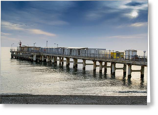 Pier At Sunset Greeting Card