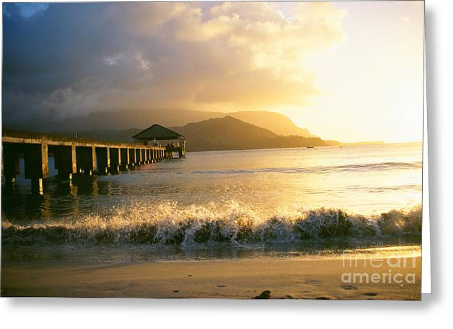 Pier At Sunset Greeting Card by Peter French - Printscapes