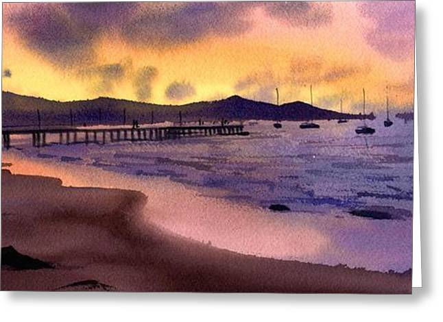 Greeting Card featuring the painting Pier At Sunset by Sergey Zhiboedov