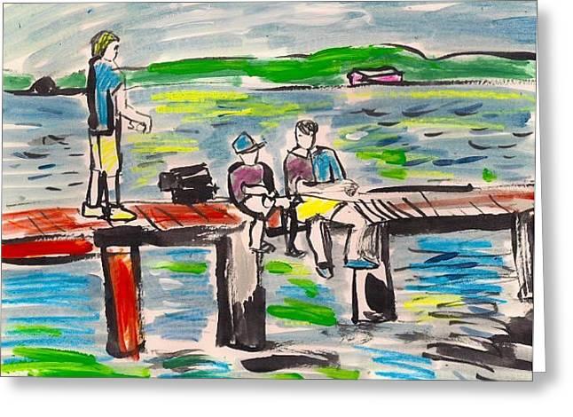 Pier Boys. Greeting Card by Samuel Zylstra