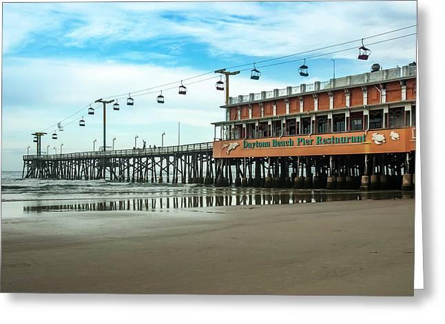 Greeting Card featuring the photograph Pier Daytona Beach by Carolyn Marshall