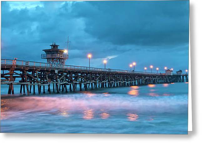 Pier In Blue Panorama Greeting Card by Gary Zuercher