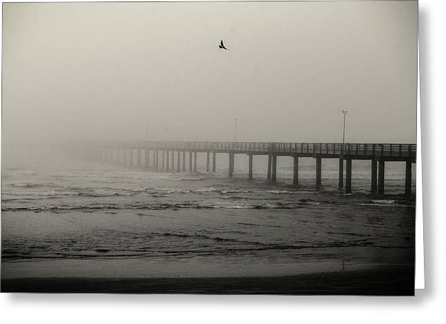 Pier In Fog Greeting Card
