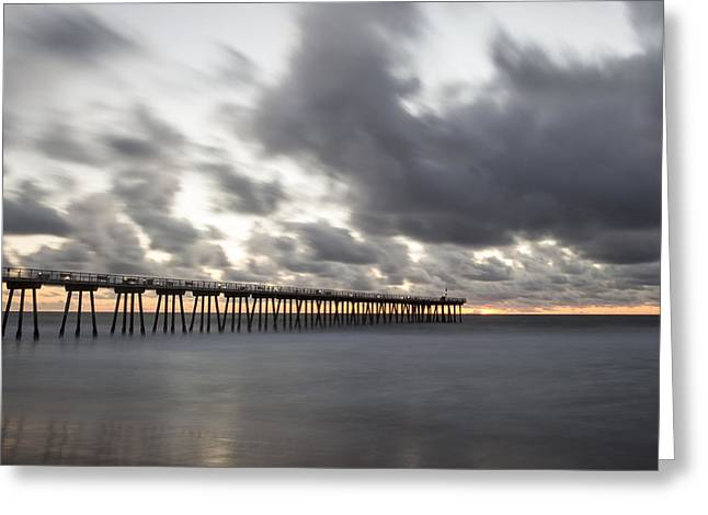 Pier In Misty Waters Greeting Card