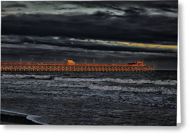 Greeting Card featuring the photograph Pier Into Darkness by Kelly Reber