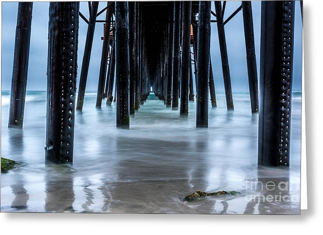 Pier Into The Ocean Greeting Card by Leo Bounds