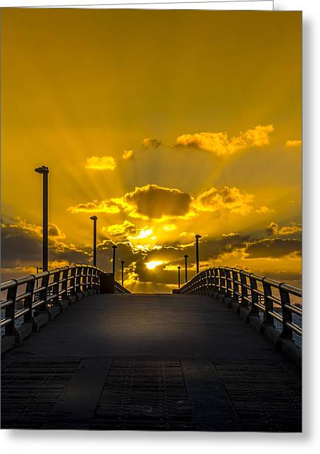 Pier Into The Rays Greeting Card by Marvin Spates