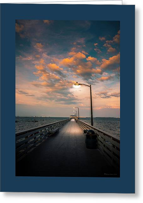 Pier Lights Greeting Card by Marvin Spates