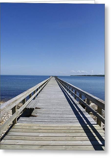 Pier On Fort Pond Bay Montauk Greeting Card