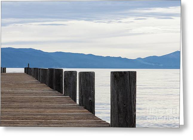 Pier On The Lake Greeting Card by Ana V Ramirez