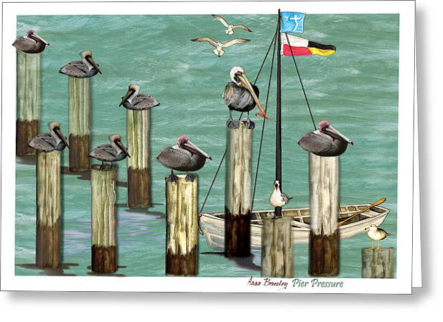 Greeting Card featuring the painting Pier Pressure by Anne Beverley-Stamps