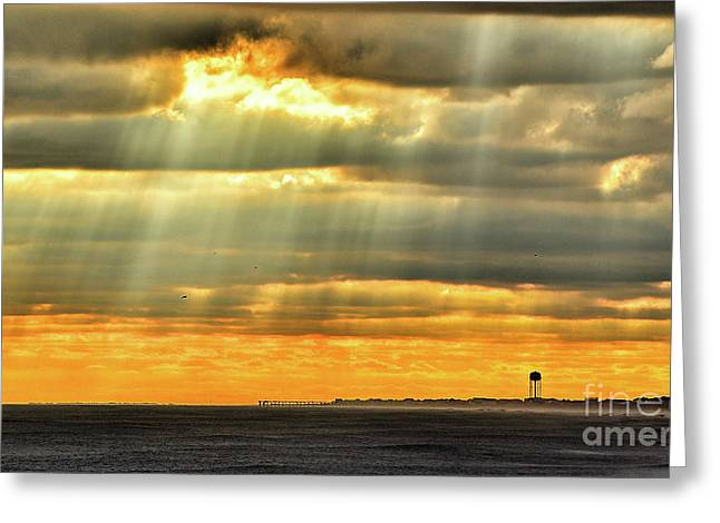 Greeting Card featuring the photograph Pier Rays by DJA Images