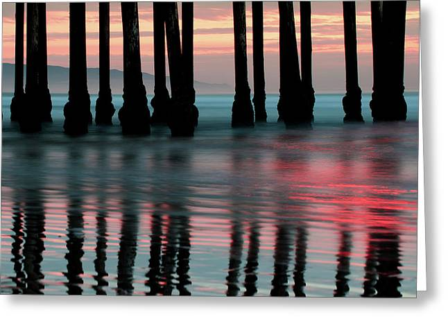 Greeting Card featuring the photograph Pier Reflections - Ocean Sunset - California  by Gregory Ballos