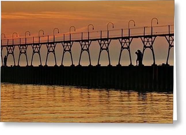 Pier Sunset Greeting Card