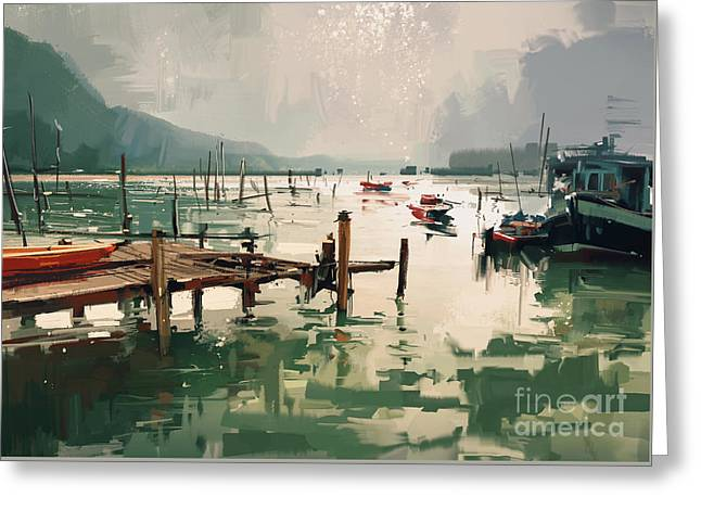Greeting Card featuring the painting Pier by Tithi Luadthong