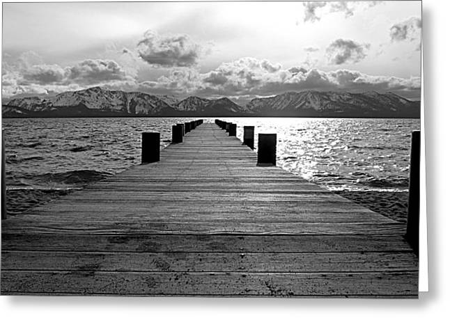Pier To Mount Tallac Lake Tahoe Greeting Card