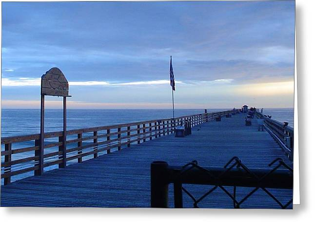 Pier View At Sunrise Greeting Card