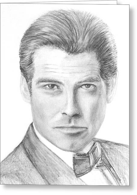Pierce Brosnan Greeting Card by Terence John Cleary