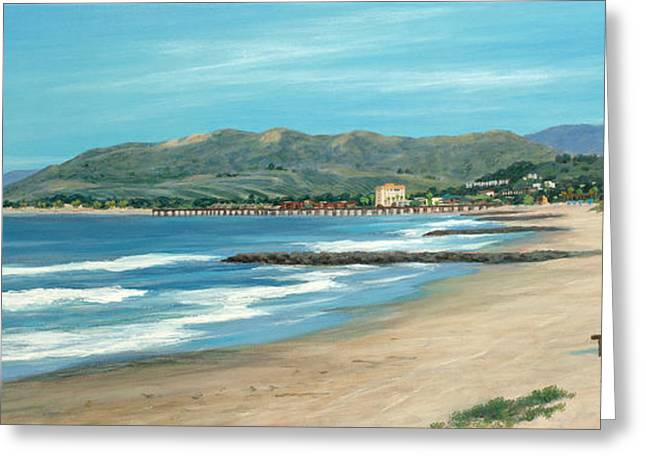 Pierpont Beach And The Bench Greeting Card by Tina Obrien