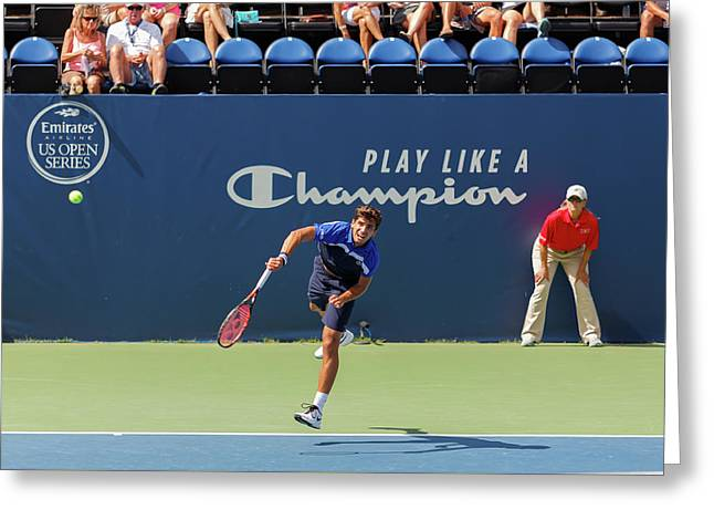 Pierre-hugues Herbert Plays In The Winston-salem Open. Greeting Card by Bryan Pollard
