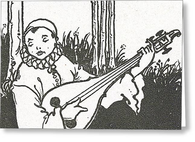 Pierrot Greeting Card by Aubrey Beardsley