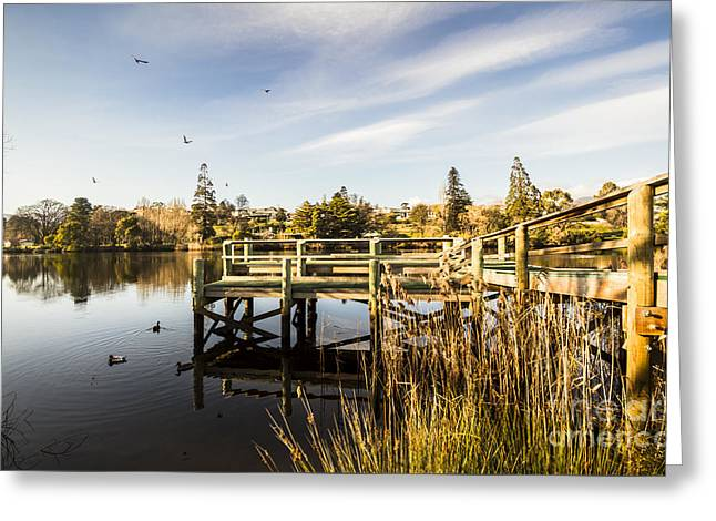 Piers And Peaceful Blue Waters Greeting Card by Jorgo Photography - Wall Art Gallery