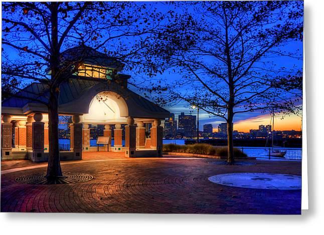 Piers Park Sunset With Gazebo - East Boston Greeting Card by Joann Vitali
