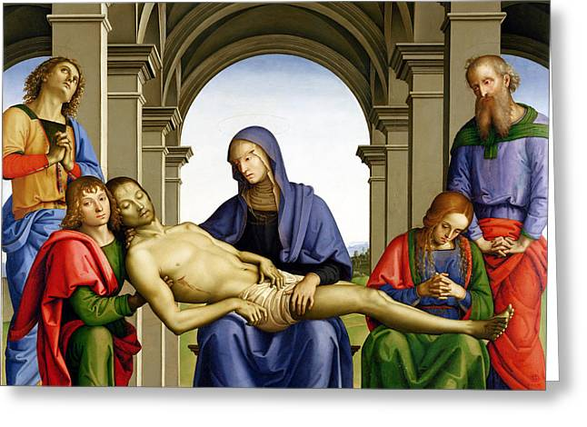 Pieta Greeting Card by Pietro Perugino