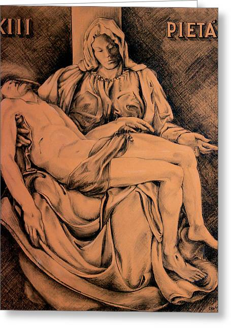 Pieta Study Greeting Card by Hanne Lore Koehler